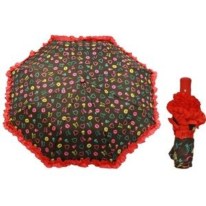 Betsey Johnson Red Ruffle Umbrella